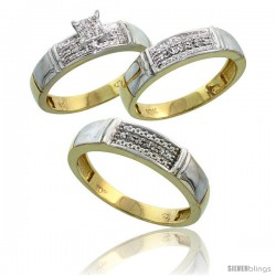 10k Yellow Gold Diamond Trio Engagement Wedding Ring 3-piece Set for Him & Her 5 mm & 4.5 mm, 0.13 cttw Brilliant Cut