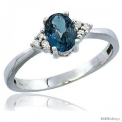 10K White Gold Natural London Blue Topaz Ring Oval 6x4 Stone Diamond Accent