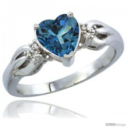 10K White Gold Natural London Blue Topaz Ring Heart-shape 7x7 Stone Diamond Accent