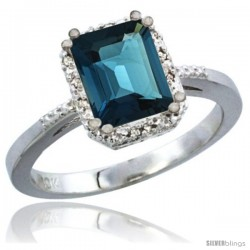 10K White Gold Natural London Blue Topaz Ring Emerald-shape 8x6 Stone Diamond Accent
