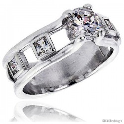 Sterling Silver 1 Carat Size Brilliant Cut Cubic Zirconia Bridal Ring -Style Rcz360