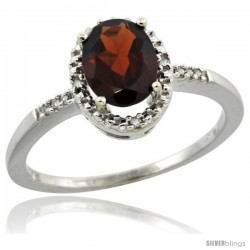 10k White Gold Diamond Garnet Ring 1.17 ct Oval Stone 8x6 mm, 3/8 in wide