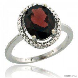 10k White Gold Diamond Garnet Ring 2.4 ct Oval Stone 10x8 mm, 1/2 in wide -Style Cw910114