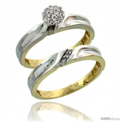 10k Yellow Gold Diamond Engagement Rings Set 2-Piece 0.07 cttw Brilliant Cut, 1/8 in wide -Style 10y008e2