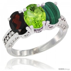 10K White Gold Natural Garnet, Peridot & Malachite Ring 3-Stone Oval 7x5 mm Diamond Accent