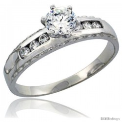 Sterling Silver Engagement Ring CZ Stones 3/16 in. 5 mm