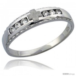 Sterling Silver Ladies' Wedding Ring CZ Stones Rhodium Finish, 3/16 in. 5 mm