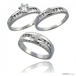 Sterling Silver 3-Piece His 7 mm & Hers 5 mm Trio Wedding Ring Set CZ Stones Rhodium Finish