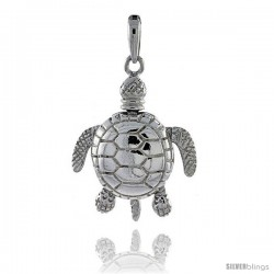Sterling Silver High Polished Large Movable Turtle Pendant