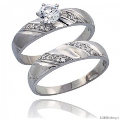 Sterling Silver 2-Piece CZ Engagement Ring Set, 3/16 in. (5 mm) wide