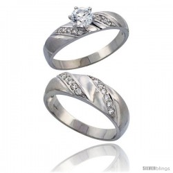Sterling Silver 2-Piece CZ Ring Set ( 5mm Engagement Ring & 7mm Man's Wedding Band )