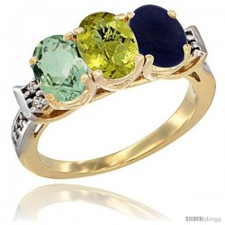 10K Yellow Gold Natural Green Amethyst, Lemon Quartz & Lapis Ring 3-Stone Oval 7x5 mm Diamond Accent