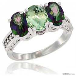 14K White Gold Natural Green Amethyst & Mystic Topaz Ring 3-Stone 7x5 mm Oval Diamond Accent