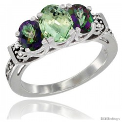 14K White Gold Natural Green Amethyst & Mystic Topaz Ring 3-Stone Oval with Diamond Accent
