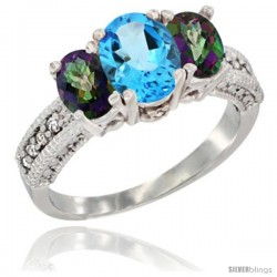 14k White Gold Ladies Oval Natural Swiss Blue 3-Stone Ring with Mystic Topaz Sides Diamond Accent