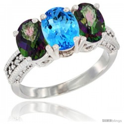 14K White Gold Natural Swiss Blue Topaz & Mystic Topaz Ring 3-Stone 7x5 mm Oval Diamond Accent