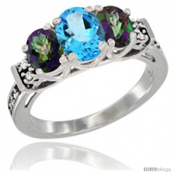 14K White Gold Natural Swiss Blue Topaz & Mystic Topaz Ring 3-Stone Oval with Diamond Accent