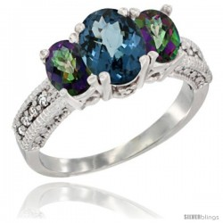 14k White Gold Ladies Oval Natural London Blue 3-Stone Ring with Mystic Topaz Sides Diamond Accent