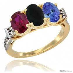 10K Yellow Gold Natural Ruby, Black Onyx & Tanzanite Ring 3-Stone Oval 7x5 mm Diamond Accent
