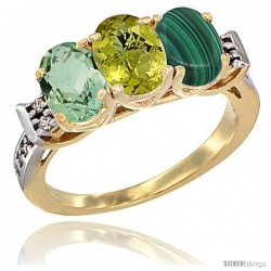 10K Yellow Gold Natural Green Amethyst, Lemon Quartz & Malachite Ring 3-Stone Oval 7x5 mm Diamond Accent