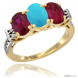 10K Yellow Gold Natural Turquoise & Ruby Sides Ring 3-Stone Oval 7x5 mm Diamond Accent