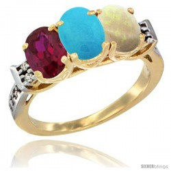 10K Yellow Gold Natural Ruby, Turquoise & Opal Ring 3-Stone Oval 7x5 mm Diamond Accent