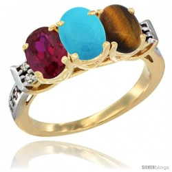 10K Yellow Gold Natural Ruby, Turquoise & Tiger Eye Ring 3-Stone Oval 7x5 mm Diamond Accent