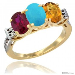 10K Yellow Gold Natural Ruby, Turquoise & Whisky Quartz Ring 3-Stone Oval 7x5 mm Diamond Accent