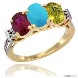 10K Yellow Gold Natural Ruby, Turquoise & Lemon Quartz Ring 3-Stone Oval 7x5 mm Diamond Accent