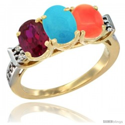 10K Yellow Gold Natural Ruby, Turquoise & Coral Ring 3-Stone Oval 7x5 mm Diamond Accent