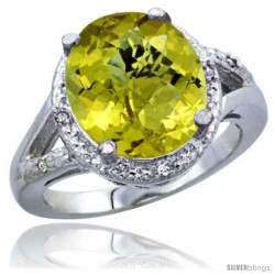 14k White Gold Ladies Natural Lemon Quartz Ring oval 12x10 Stone Diamond Accent