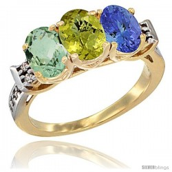 10K Yellow Gold Natural Green Amethyst, Lemon Quartz & Tanzanite Ring 3-Stone Oval 7x5 mm Diamond Accent