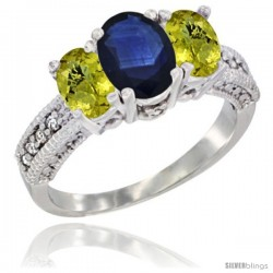 14k White Gold Ladies Oval Natural Blue Sapphire 3-Stone Ring with Lemon Quartz Sides Diamond Accent