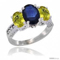 14K White Gold Ladies 3-Stone Oval Natural Blue Sapphire Ring with Lemon Quartz Sides Diamond Accent