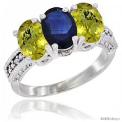 14K White Gold Natural Blue Sapphire Ring with Lemon Quartz 3-Stone 7x5 mm Oval Diamond Accent