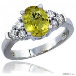 14k White Gold Ladies Natural Lemon Quartz Ring oval 9x7 Stone Diamond Accent