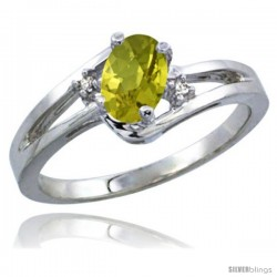 14k White Gold Ladies Natural Lemon Quartz Ring oval 6x4 Stone Diamond Accent -Style Cw427165