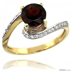 14k Gold Natural Garnet Swirl Design Ring 6 mm Round Shape Diamond Accent, 1/2 in wide