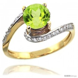 14k Gold Natural Peridot Swirl Design Ring 6 mm Round Shape Diamond Accent, 1/2 in wide