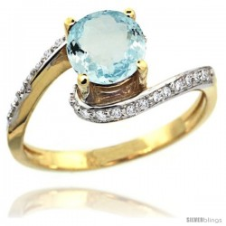 14k Gold Natural Aquamarine Swirl Design Ring 6 mm Round Shape Diamond Accent, 1/2 in wide