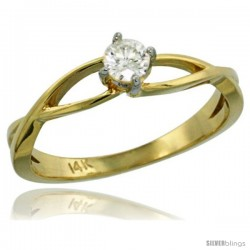 14k Gold Loop Diamond Engagement Ring w/ 0.19 Carat Brilliant Cut ( H-I Color SI1 Clarity ) Diamond, 3/16 in. (4.5mm) wide