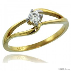 14k Gold Double Loop Diamond Engagement Ring w/ 0.16 Carat Brilliant Cut ( H-I Color SI1 Clarity ) Diamond, 3/16 in. (5mm) wide