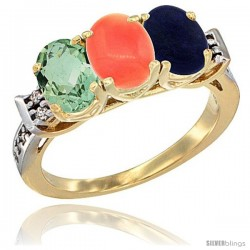 10K Yellow Gold Natural Green Amethyst, Coral & Lapis Ring 3-Stone Oval 7x5 mm Diamond Accent