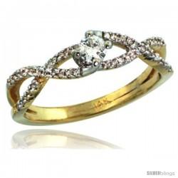 14k Gold Braided Solitaire Diamond Engagement Ring w/ 0.30 Carat Brilliant Cut ( H-I Color VS2-SI1 Clarity ) Diamonds, 3/16