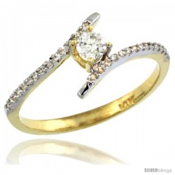 14k Gold Solitaire Diamond Engagement Ring w/ 0.16 Carat (Center) & 0.08 Carat (Sides) Brilliant Cut ( H-I Color SI1 Clarity )