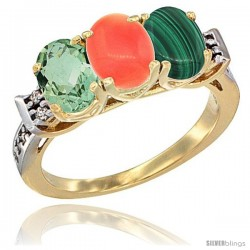 10K Yellow Gold Natural Green Amethyst, Coral & Malachite Ring 3-Stone Oval 7x5 mm Diamond Accent