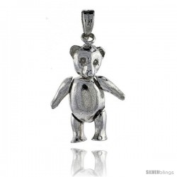 Sterling Silver Medium High Polished Movable Teddy Bear Pendant