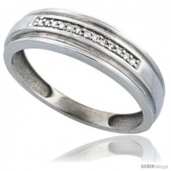 14k White Gold Men's Diamond Band, w/ 0.06 Carat Brilliant Cut Diamonds, 1/4 in. (6mm) wide