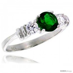 Sterling Silver 1 Carat Size Brilliant Cut Emerald Colored CZ Bridal Ring