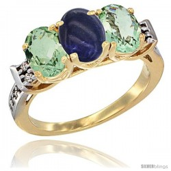 10K Yellow Gold Natural Lapis & Green Amethyst Sides Ring 3-Stone Oval 7x5 mm Diamond Accent
